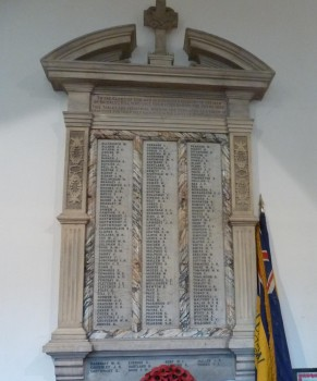 St. Michaels church marble wall tablet with names